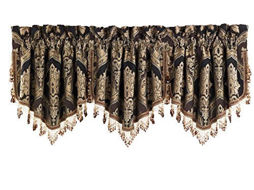 Five Queens Court Reilly Ascot Crystal Tassel Fringe Window Valance, Black/Gold