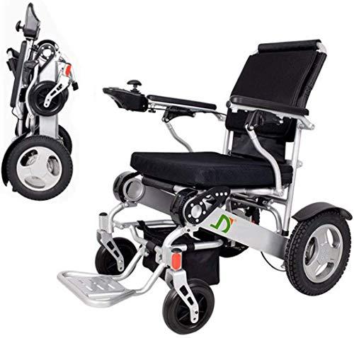 Alqn Silla de ruedas eléctrica plegable ligera, plegable de lujo plegable Silla de ruedas eléctrica compacta con ayuda de movilidad, batería doble, rango de conducción más largo Silla de ruedas eléct