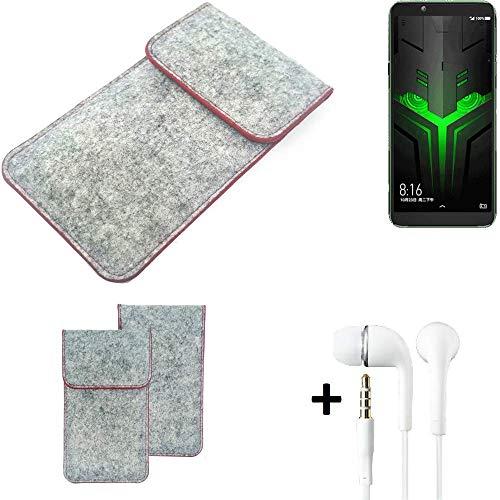 K-S-Trade Handy Schutz Hülle Für Xiaomi Blackshark Helo Schutzhülle Handyhülle Filztasche Pouch Tasche Hülle Sleeve Filzhülle Hellgrau Roter Rand + Kopfhörer
