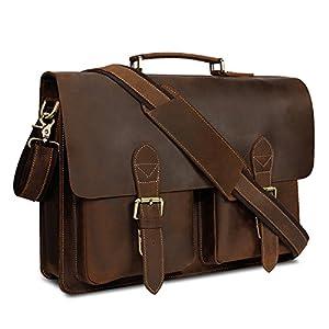 51mVb5hOmTL. SS300  - Kattee de piel bolso de ordenador portátil bolsos de hombro para hombres, marrón b (Marrón) - XZ122BN-UK