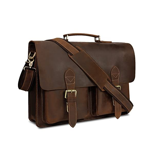 Kattee de piel bolso de ordenador portátil bolsos de hombro para hombres, marrón b (Marrón) XZ122BN UK