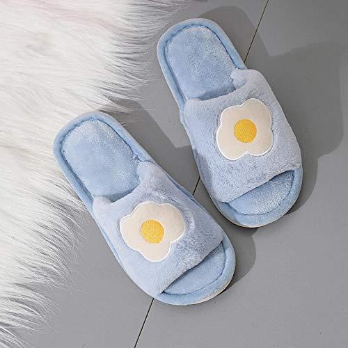 ypyrhh Espuma de Memoria Zapatos con AntideslizanteSuela,Pantuflas de Felpa de una Palabra,Zapatos Planos de algodón Antideslizantes para el hogar-Blue_36-37,Slippers Confortables Zapatos Interio