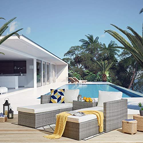 Cherry Tree Furniture Tofino 5-Piece Rattan Garden Sofa & Table Set, Stackable Patio Set
