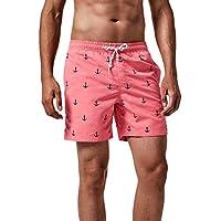MaaMgic Trajes de baño para Hombres Bañador para Vacaciones en la Playa Secado rápido Piscina Nadar Rosa Ancla XL