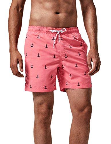 MaaMgic Herren Badehose Sommer Badeshorts für männer Jungen Badehose Schwimmhose Schnelltrocknend Kurz Vielfarbig Beachshorts MEHRWEG Anker Pink L