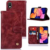 Galaxy A10e Case, A10e Phone Case for Women, Zoeirc PU Leather Wallet Flip Folio Protective Phone Case Cover with Card Slots and Stand for Samsung Galaxy A10e (Wine red)
