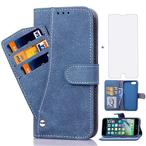 Asuwish iPhone 7/8/SE 2020 Wallet Case,Leather Phone Case with Screen Protector Tempered Glass Credit Card Holder Slot Stand Flip Protective Cover for Apple iPhone7 iPhone8 i SE2 8S i8 i7 Blue