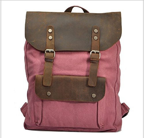 Stylish Unisex Canvas & Leather Vintage Casual Fashion Travel Daypack Backpacks for Campus School College, Bookbag Rucksack Portable Carry Case Bag for Sony Canon Nikon Olympus DSLR, up to 15 inch HP Dell Samsung Toshiba Acer ASUS Lenovo Laptops, ipad & mini, Google Nexus, Samsung Galaxy & Note, Microsoft Surface,Other 7 & 10 inch Tablet PC - (Pink)