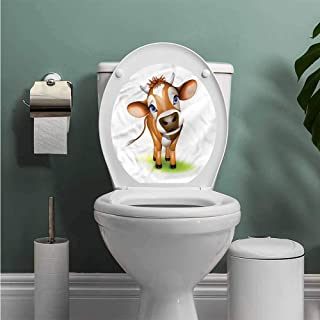 ThinkingPower Baby ToiletLidCoverSticker Cow with Blue Eyes Grass Waterproof Wall Decals W14XL14 INCH