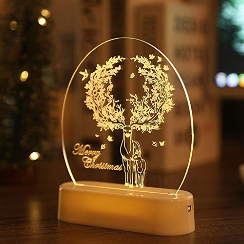 Cool Ring 3D Fairy Lights Snowman Bell Acrylic Ornament Christmas Decorations Night Light