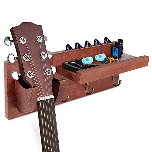 Guitar Wall Hanger, Guitar Stand with Storage Shelf and 3 Metal Hook,...