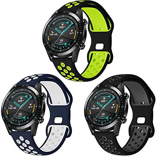 Correa para Huawei GT 2 46mm/Galaxy Watch 3 45mm/Galaxy Watch 46mm, Hatolove 22mm Deportiva Muñequeras Suave Silicona Reemplazo para Amazfit Pace/Amazfit Stratos/2/2S/Amazfit GTR 47mm/Amazfit GTR 2/2e