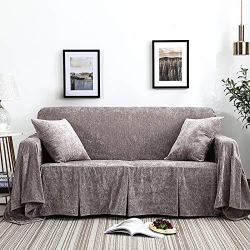 XQWZM Light Luxury Warm Sofa Slipcover,Cubierta De La Caja De Peluche De La Cachemira,1 Pieza Couch Mueble Protector Cubierta,para Sala De Estar Sillón Couch-Ceniza fría 200x360cm(79x142inch)