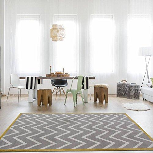 The Rug House Milan Alfombra para Sala de Estar con Diseño Moderno Chevron Gris Beige Ocre 80cm x 150cm