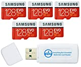 Samsung 128GB Evo Plus MicroSD Card (5 Pack EVO+) Class 10 SDXC Memory Card with Adapter (MB-MC128HA) Bundle with (1) Everything But Stromboli Micro & SD Card Reader