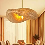 Bamboo Pendant Light for Kitchen Island, Dining Room Lighting Fixtures Hanging Lamp, Creative Rattan Chandelier Bird Nest Lampshade for Bar Cafe Living Room(with no Bulb)
