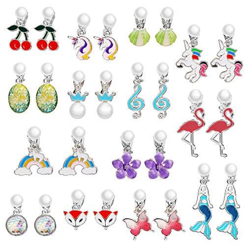 Hifot 14 Paare Clip Ohrringe Mädchen Prinzessin Ohrclips Flamingo Fuchs Regenbogen Meerjungfrau Einhorn Ohrringe Clips für Kinder Kleinkind Schmuck Set