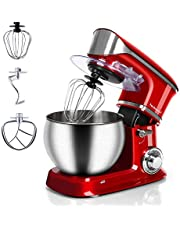 Stand Mixer Electric Mixer, Techwood 6-QT 800W high power 6-Speed Food Mixer, Tilt-Head Kitchen Electric Dough Mixer with Stainless Steel Bowl, Dough Hook, Wire Whip and Beater