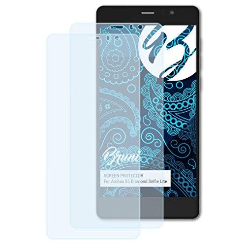 Bruni Schutzfolie kompatibel mit Archos 55 Diamond Selfie Lite Folie, glasklare Bildschirmschutzfolie (2X)