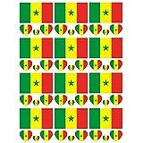 SpringPear® 12x Temporär Tattoo von Flagge Senegal für Internationale Wettbewerbe Olympischen Spiele Weltmeisterschaft Wasserfeste Fahnen Tätowierung Flaggenaufkleber WM Fan Set (12 Pcs)