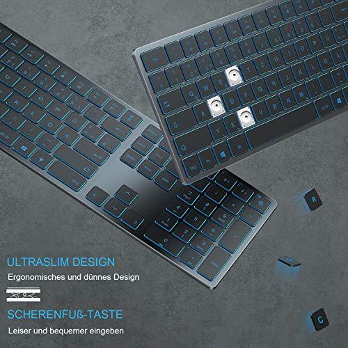 Jelly Comb Beleuchtete Tastatur mit 3 Bluetooth Kanälen, Kabellose Wiederaufladbare Ultraslim Fullsize QWERTZ Funktastatur für Windows PC/Laptop/Tablet/Surface Pro/Go, Grau