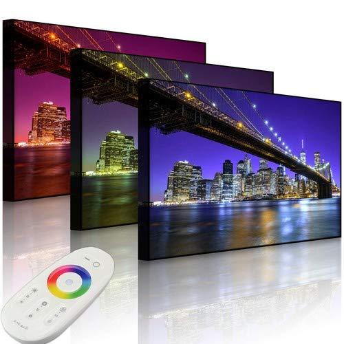 Lightbox-Multicolor | Beleuchtetes Bild | Skyline von Manhattan | 100x70 cm | Front Lighted