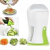 Hachef - Affettatrice a spirale 3 in 1 per verdure con set di spazzole per la pulizia, ideale per verdure e verdure, zucchine, verdure, spaghetti, pasta tagliatella, verde e bianco (H5,5 x Dia2,75)