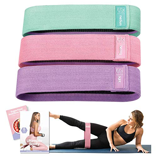 Booty Bands, Non Slip Resistance Bands for Legs and Butt, Workout Bands Exercise Bands Glute Bands for Women, 3 Pack - Workout & Superfood Guides Included