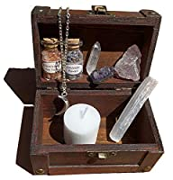 Mini Witchcraft kit Wiccan Altar Set Small Wooden Box Moon Necklace Crystal Witchcraft Witch kit