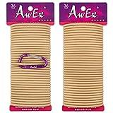 AwEx Strong Blonde Hair Ties - 72 PCS 4 mm Regular Loop - Gold Hair Bands - No Metal Hair Elastics -No Pull Ponytail Holder