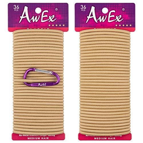 AwEx Blond Haargummis, 72 Stück, 4 mm (0,16 Zoll) dick, 140 mm (5,5 Zoll) Lange Haargummibänder, Keine Metallhaarbinder, Keine Pull-Pferdeschwanzhalter