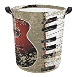 XYHH Grunge Background Guitar Piano Vintage Laundry Basket Collapsible Storage Bin Bath Toy Organizer playroom Storage Waterproof Storage bin Oxford Fabric Laundry Hamper with Handles LCD One Size