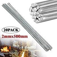 GABRIEL Varillas de Soldadura de Aluminio, Paquete de 20 Cables de Soldadura universales de Aluminio de Baja Temperatura para energía eléctrica, química, Alimentos, Plata 2 mm 500 mm