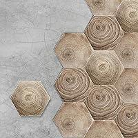 Homya フロアタイル 壁紙シール 木目調 床用シール 防水 リメイクシート 滑り止め 剥がせる壁紙 フローリングシート 六角形 20*23cm のり付き 10枚入