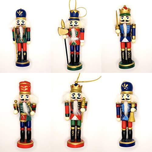 Zedelmaier Nussknacker Figur 6-teiliges Set mit unterschiedlichen Formen, von Hand bemalt, Nussknacker Deko, Weihnachtsdekoration, Holzanhänger, Weihnachtsbaumschmuck, Christbaumschmuck