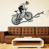 Vélo de course vélo vélo vinyle autocollant vélo sport sticker mural décoration murale décoration art garçon salle de jeux chambre affiche décoration autocollant A4 L 78x57 cm