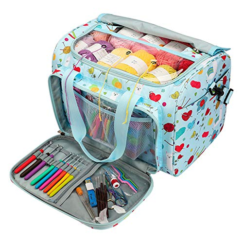 Coopay Bolsa de Almacenamiento de Hilo de Tejer Azul Cielo, Bolsa de Tejido Portátil para Bola de Hilo, Bolsa de Mano para Hilo Textil con Múltiples Bolsillos, Ideal para Amantes del Tejido