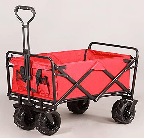 QDY -Carro De Jardín Al Aire Libre con Ruedas Grandes De Manija, Carro De Utilidad Plegable para Neumáticos Todo Terreno, Cuatro Ruedas Plegable Al Aire Libre,9 Red