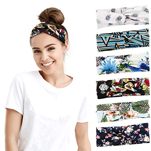 MoKo Headbands for Women 6 Pack Floral Cross Boho Headwrap for Workout Yoga