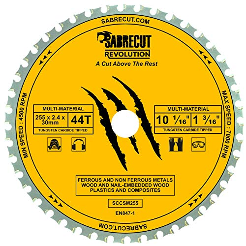 1 x SabreCut SCCSM255_44 255mm 44T x 30mm 25.4mm 20mm 16mm Bore Multi-Material Metal Wood Plastic Circular Saw Blade Compatible with Bosch Dewalt Makita Milwaukee and Many Others