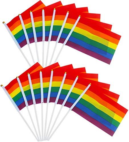 TRIXES 15 Rainbow Handfähnchen zum Schwenken - Stabflaggen - Mehrfarbige Mini-Handflaggen für LGBT-Gay-Pride-Veranstaltungen - Festivalzubehör - Kleine Regenbogenflaggen 21 x 14 cm auf 30 cm Stangen
