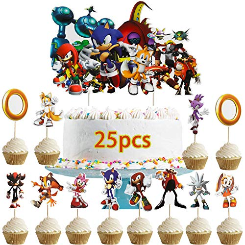Dawei 25 PCS Sonic the Hedgehog Cupcake Toppers,Sonic the Hedgehog Happy Birthday Party Supplies cake Topper for Party Supplies - 1 count big cake topper + 24 count cupcake toppers