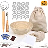 Round Bread Proofing Basket, Banneton Proving Basket 9 Inch with 6 Pack Baking Tools - Cloth Liner, Bread Bag, Lame, Whisk, Scraper, 16 Decor Stencils