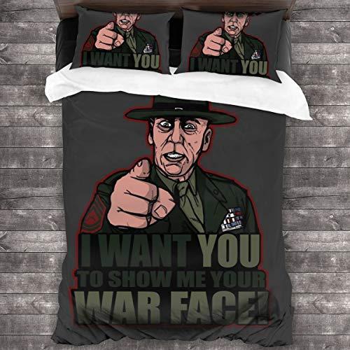 KUKHKU War Face Gunnery Sargento Hartman - Juego de cama de 3 piezas con funda de edredón de 86 x 70 pulgadas, decoración de 3 piezas con 2 fundas de almohada
