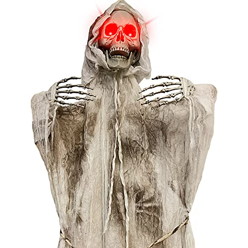 EPROSMIN Floating Skeleton Halloween Decoration Ghost – Scary Skeleton Pirate with Sound Induction LED Flashing Animated Eyes Halloween Decor for Outdoor, Yard, Lawn, Patio