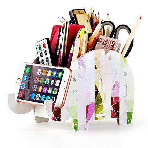 Organizer, Cosmetics Receipt Box, Elephant Pencil Holder and Telephone Holder Table Organizer, Table Pen and Pencil Mobile Phone Bracket (Striped Elephant)