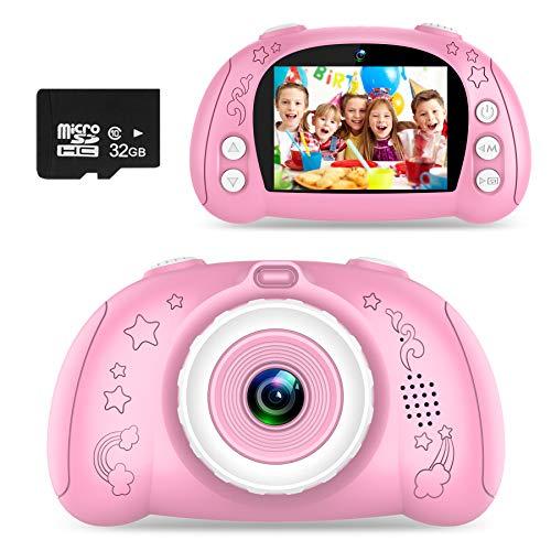 WOWGO Cámara para Niños, Cámara de Fotos Digital con Pantalla de 2.4 Pulgadas / 12 Megapíxeles / 1080P HD/Lente Dual/Tarjeta 32G TF/Pegatinas (Rosa)