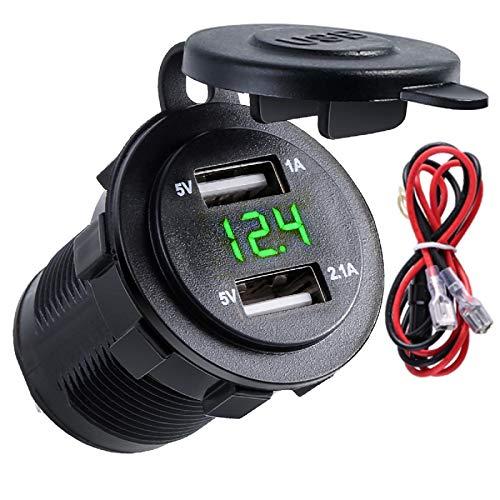 YOPOTIKA Cargador de Coche Dual USB Led Encendedor de Cigarrillos con Pantalla de Voltaje Digital Cubierta Protectora Y Cable 12-24V Impermeable