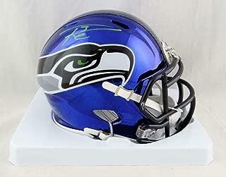 Russell Wilson Signed Mini Helmet - Chrome Holo *Green - Autographed NFL Mini Helmets