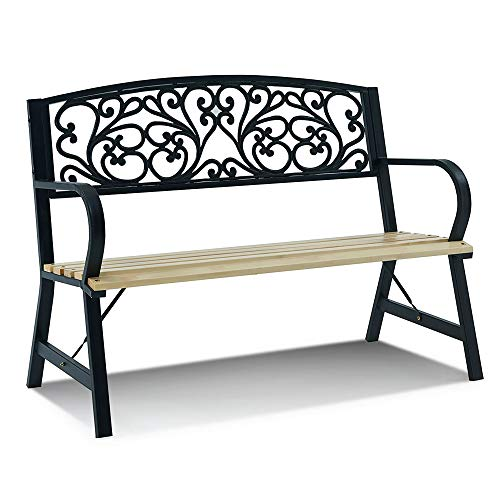 LIVIVO Cast Iron and Wood Garden Bench with Elegant Floral Patterned Back, Comfortable Natural Slatted Wood Seat ('Fancy Floral')